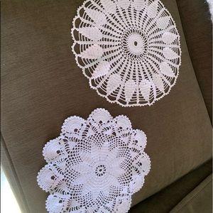 2 round vintage crochet doilies
